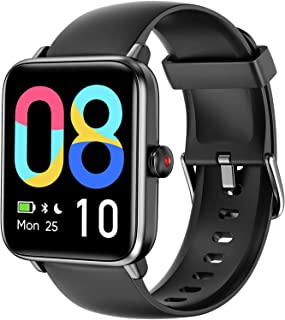 LETSCOM Smart Watch for Android Phones Compatible with iPhone, 1.55 Inch Touch Screen, Fitness Tracker with Heart Rate Monitor & Blood Oxygen Saturation, 5ATM Waterproof Smartwatch for Women Men-Black