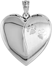 Sterling Silver Heart Locket/Urn Necklace 1 Picture Paw Prints 1 inch