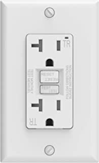ELEGRP 20 Amp GFCI Outlet, 5-20R Ultra Narrow GFI Dual Receptacle, TR Tamper Resistant with LED Indicator, Self-Test Ground Fault Circuit Interrupters with Wall Plate, UL Listed (1 Pack, White)