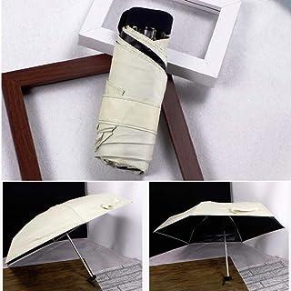 PEPPY BASKET Pocket Umbrella 5 Fold Rain & Windproof Folding Umbrella Sun Protection from UV with Zipper Hard case (SIze-50cm) 6K Cloth Quality (Off White)