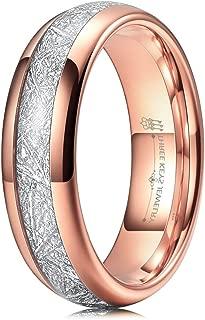 4mm 6mm 8mm Tungsten Wedding Ring Imitated Meteorite Rose Gold Brushed/Polished Band