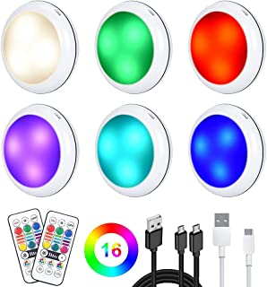 Rechargeable Puck Lights, 2020 Upgraded Under Cabinet Lights, Dimmable LED Cupboard Lighting Night Lights with 16 Colors, ...