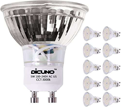 DiCUNO GU10 LED Bulb 5W 500LM Warm White 3000K 220V Non-dimmable Energy Saving Lamp Chandelier Pack of 10