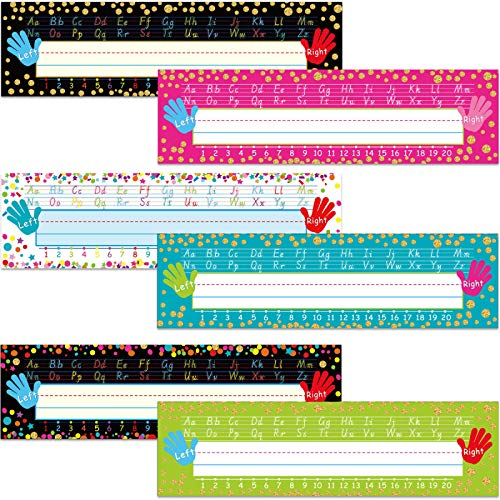 48 Pieces Confetti Name Plates Colorful Polka Dot Traditional Manuscript Name Tag Name Labels with 160 Pieces Glue Point Dots for School Classroom Students Desks Teaching Supplies