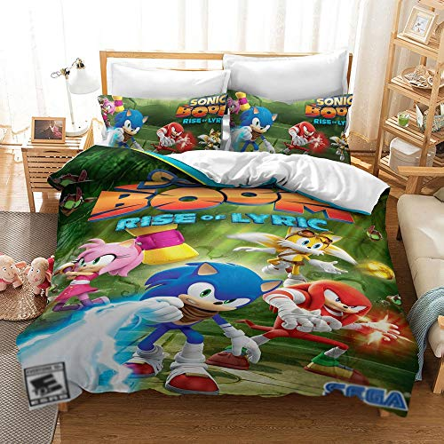 JSYJ Boom Rise of Lyric Anime Sonic The Hedgehog - 2020 Nuova Matrimoniale Cover Set Bedding 3 Pezzi Full Size Doppio Duvet Imposta Federa (Dimensione : 260 * 220cm)