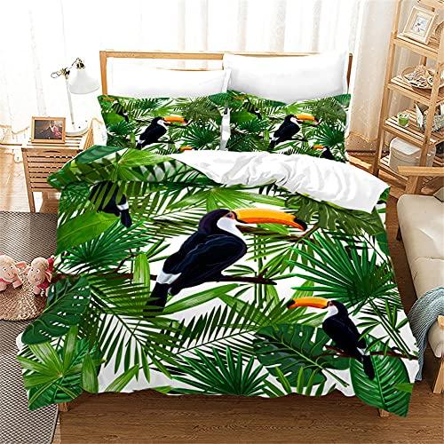 200 X 200 Cm Funda Nordica 2 Personas Aves De Plantas Verdes Funda Nordica Adolescente Microfibra...