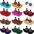 12 Pairs Statement Tassel Earrings Fringe Dangle Earrings Handmade Bohemian Statement Earrings for Women Girls Daily Party