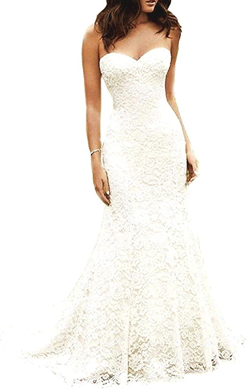 Cdress Women's  Full Lace Beach Wedding Dresses Bohemian Mermaid Bridal Gowns