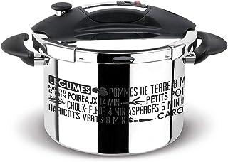 Sitram 711937 Autocuiseur Sitraspeedo 8L en inox-noir avec sérigraphie-tous feux y compris l'induction-fabrication françai...