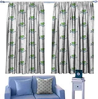 Mannwarehouse Vintage Airplane Polyester Curtain Cartoon Dinosaur with an Aircraft on Star and Heart Background Darkening and Thermal Insulating 72