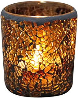 Mobestech 2pcs Mosaic Candlestick Amber Glass Scented Candle Holder Tealight Cup for Valentine's Day's Day Anniversary Wed...