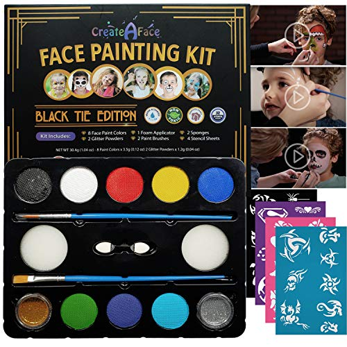 Face Painting Set for Kids - 32 Stencils, 8 Large Water...