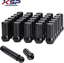KSP 14mmx1.5 Lug Nuts,7 Spline with 1 Key Black Closed Ended Conical Seat 60 Degree Wheel Tuner Lug Nuts fit for Chevy GMC Dodge Ford More 6&8 Lugs Pickup Trucks,32 PCS