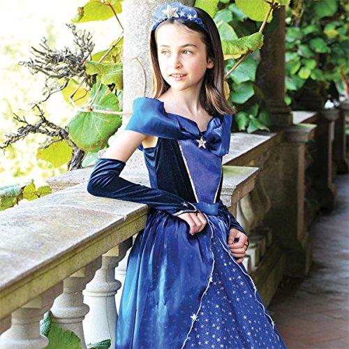 amscan STP6 Costume de Princesse Bleu Nuit avec Gants et diadème étoile 6-8 Ans 1 pièce