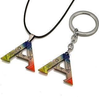 Generic PC Game ARK: Survival Evolved Alloy Keychain & Necklace Set Colorful Pendant, 3.8cm3.2cm
