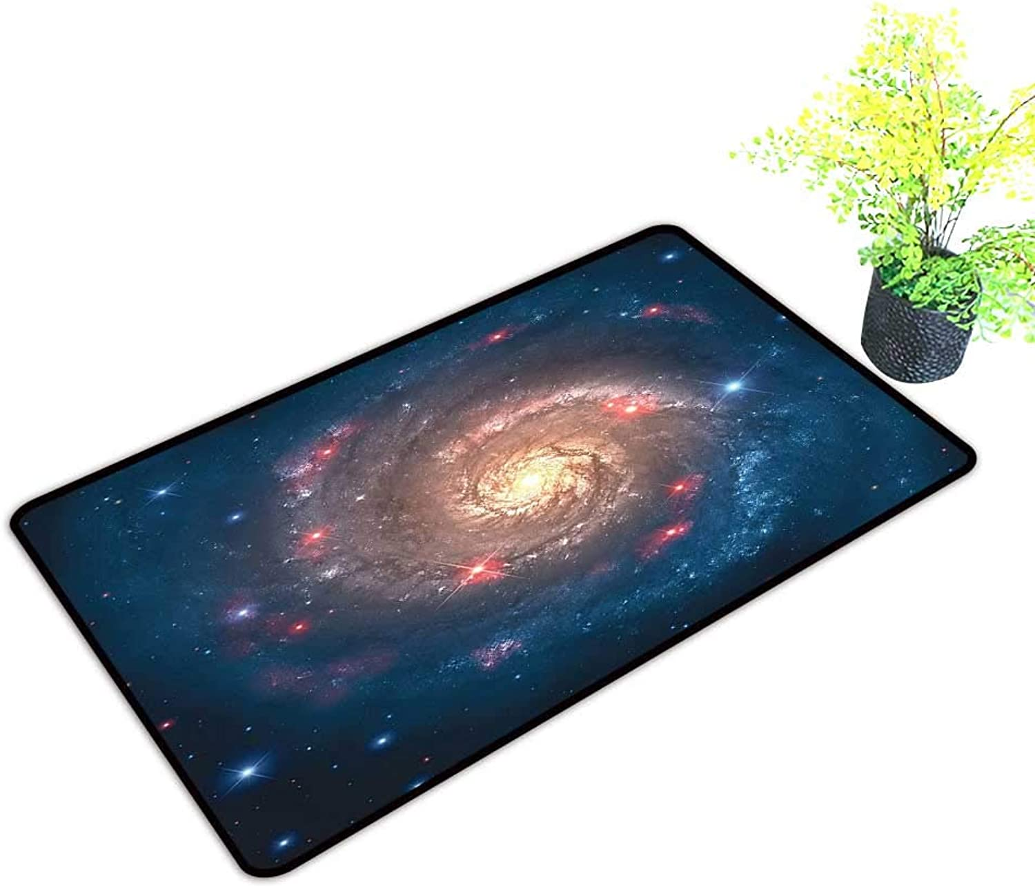 Gmnalahome Front Door Mat for Indoor Outdoor Entry Rug Mystical Spiral Galaxy Expanse bey Way Planet Astral Space Dark bluee Keep Your House Clean W39 x H19 INCH