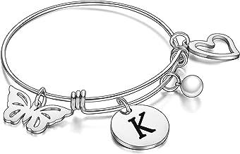 malyunin Initial Bracelet Charm Bracelets Heart Butterfly 26 Letters Alphabet Bracelet for Women Girls Letter Bracelet Per...