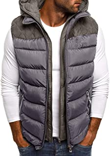 Snowmolle Zipper Puffer Hoodie Standing Collar Vest Men Quilted Padded Sleeveless Jackets Gilet Casual Work Travel Outdoor
