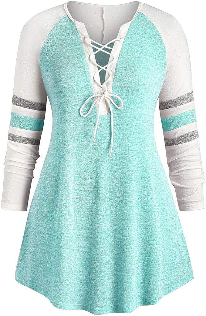 Lutos Plus Size Women Bandage Cross Neck favorite Irregular Attention brand V Long Sleeve
