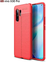 For Vivo X30 Pro Litchi Texture TPU Shockproof Case New(Black) LKay (Color : Red)