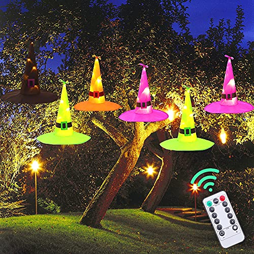 Halloween Decorations Halloween Lights Outdoor, 6Pcs Battery Powered Hanging Lighted Witch Hat, 33 FT Remote Control…