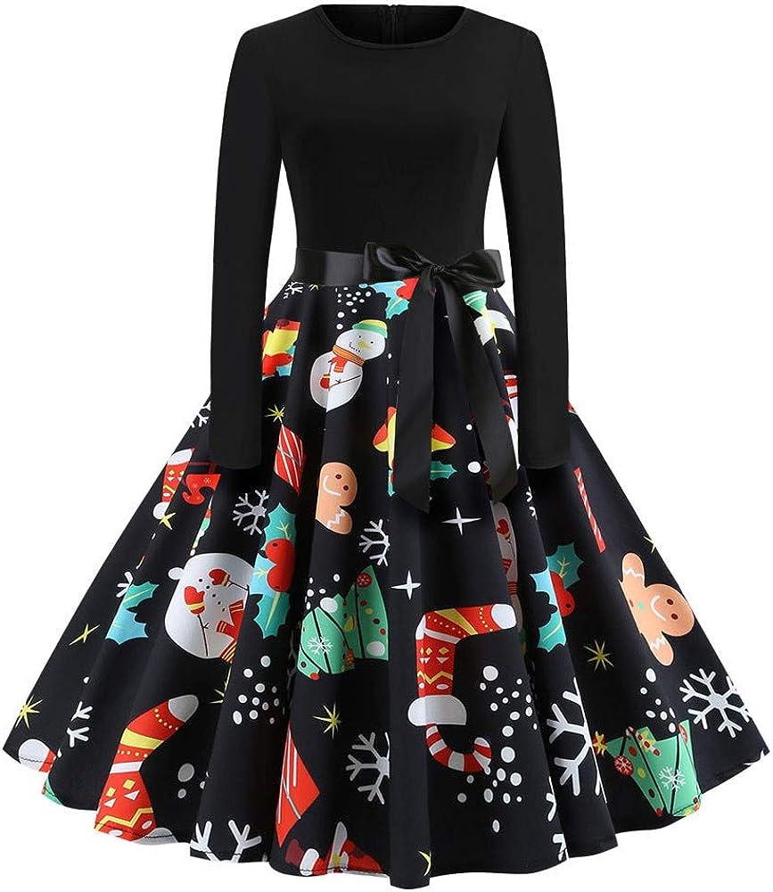 Vintage Christmas Max 79% OFF Evening Party Mini Print Dresses Lon Women Memphis Mall for