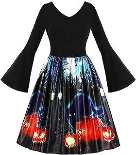 VEKDONE - Vestito da donna per Halloween, taglie forti, stile vintage, con zucche e fantasma, da sera