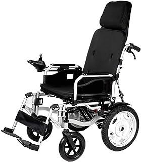 XiYou Silla de Ruedas eléctrica Ajustable para Scooter con reposacabezas, Silla eléctrica portátil Plegable y Liviana con cinturón de Seguridad, alimentación eléctrica o manipulación Manual