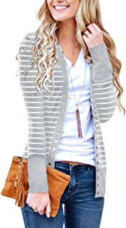 PAPOSON Women's Long Sleeve Cardigan Soft Cotton V-Neck Button Down Front Sweaters Knitwear