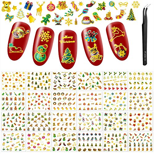 24 Sheets Christmas Laser Nail Art Stickers, Ultralight 3D Self-Adhesive Stickers Santa Claus Reindeer Snowflakes Gel Nail Decals with Tweezers for Women Girls (Gold)