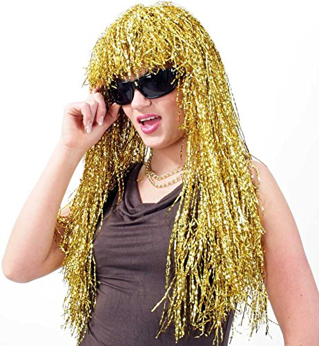 Unbekannt Lametta Perücke Gold Langhaar mit Pony