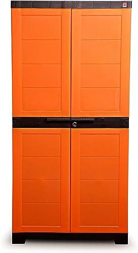 Cello Novelty Big Plastic 2 Door Cupboard with 3 Shelves (Orange and Brown)