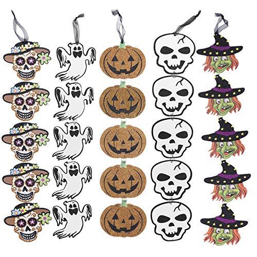 Holibanna Halloween hängende Geister Kürbis Schädel Hexe Banner vertikale Papiergirlande Indoor Outdoor Dekorationen