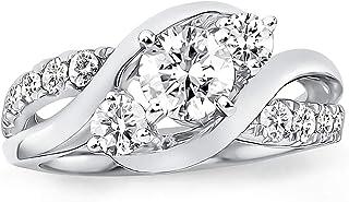 خواتم خطوبة من مويسانيت للنساء 2 نمط مطلي بالبلاتينيوم خاتم الفضي الملوي حلقات مويسانيت