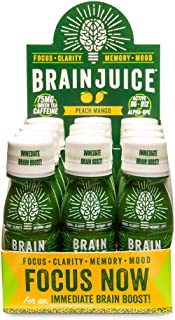 BrainJuice Brain Booster Shot, Original Peach Mango | Liquid Drink Supplement for Improved Energy, Memory, Focus, Clarity & Mood, Gluten-Free, Non-GMO | 2.5 fl oz, 12 Count