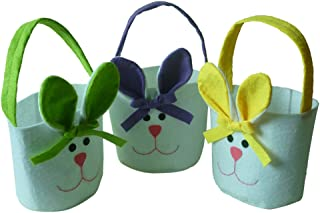 F Fityle 3pcs Easter Bunny Ear Bags Rabbit Candy Bag Easter Basket Festival Kids Gift