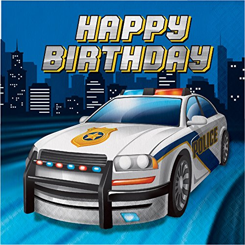 Polizei Party 16 Servietten Happy Birthday