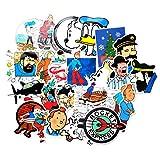 BAIMENG Caja de Palanca de Aventura de Tintín de animación de fantasía Europea y Americana, Pegatina de Graffiti, batería de refrigerador, Pegatina Impermeable para Coche, 25 Piezas