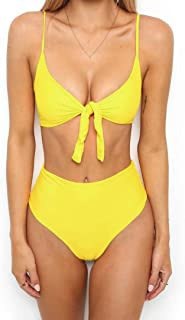 Ruhiku GW Women Sexy High Waisted Bikini Sets Tie Knot Swimsuit Beachwear