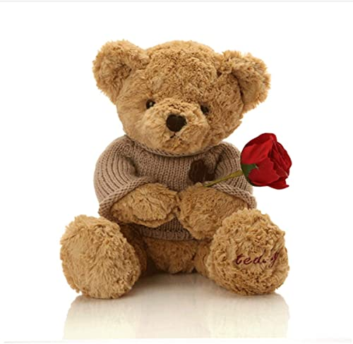 Muziwenju Peluche Jouets, Empreintes de Pas Pull Teddy Bear, poupée Ours en Peluche, Cadeau d'anniversaire, Bcourir Clair   Or, Haute qualité, Cadeau ( Couleur   marron , Taille   80cm )