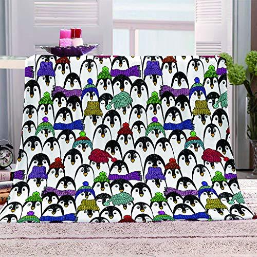 Mantas de Cama de Franela, Chickwin Reversible Bedding Manta de Felpa Cosy Soft cálidas y Ligeras Mantas de Sofá Cama para Adultos y Niños Dormitorio Colcha Cubrecama (Pingüino,180x240cm)