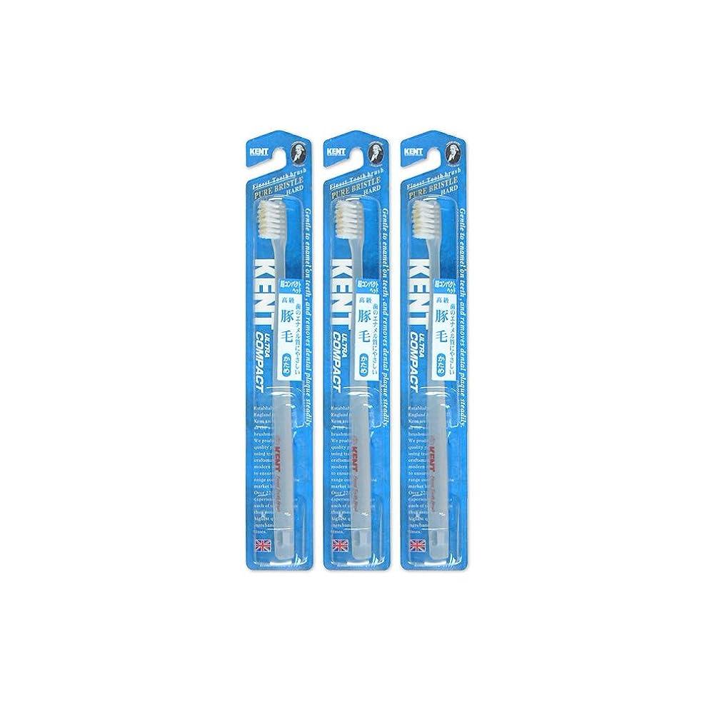 伝統的レコーダーレイKENT 歯ブラシ 豚毛 かため 超コンパクトヘッド◆3本セット -0333