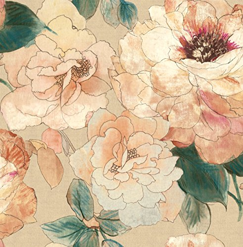 Rainforest Pink Floral Wallpaper Blue Shimmer Gold Peach Cream Samples Available