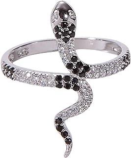 خاتم أفعى من Jenna Hunter CZ للنساء عيار 925 قاعدة من الفضة الإسترلينية مكعب أحجار زركونيا مقاسات 6-7