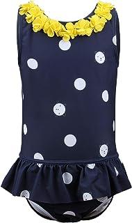 Julysand Babys Toddler Girls One-Piece Swimsuit Babys Infant Swimwear Ruffle Buts Polka Dot Daisy 3D Flower 20G052 9-12 Mo...