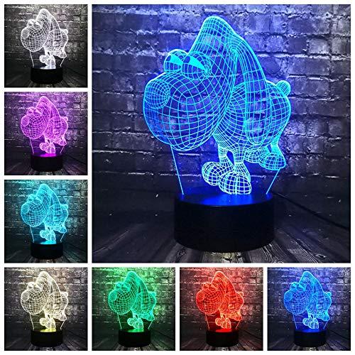 LIkaxyd 3D Led Lámparas De Ilusión Óptica - 7 Colores Cambio De Botón Táctil Y Cable Usb,Regalo Perfectos Para Niño!!![Clase De Eficiencia Energética A+++]Perro De Ojos Grandes