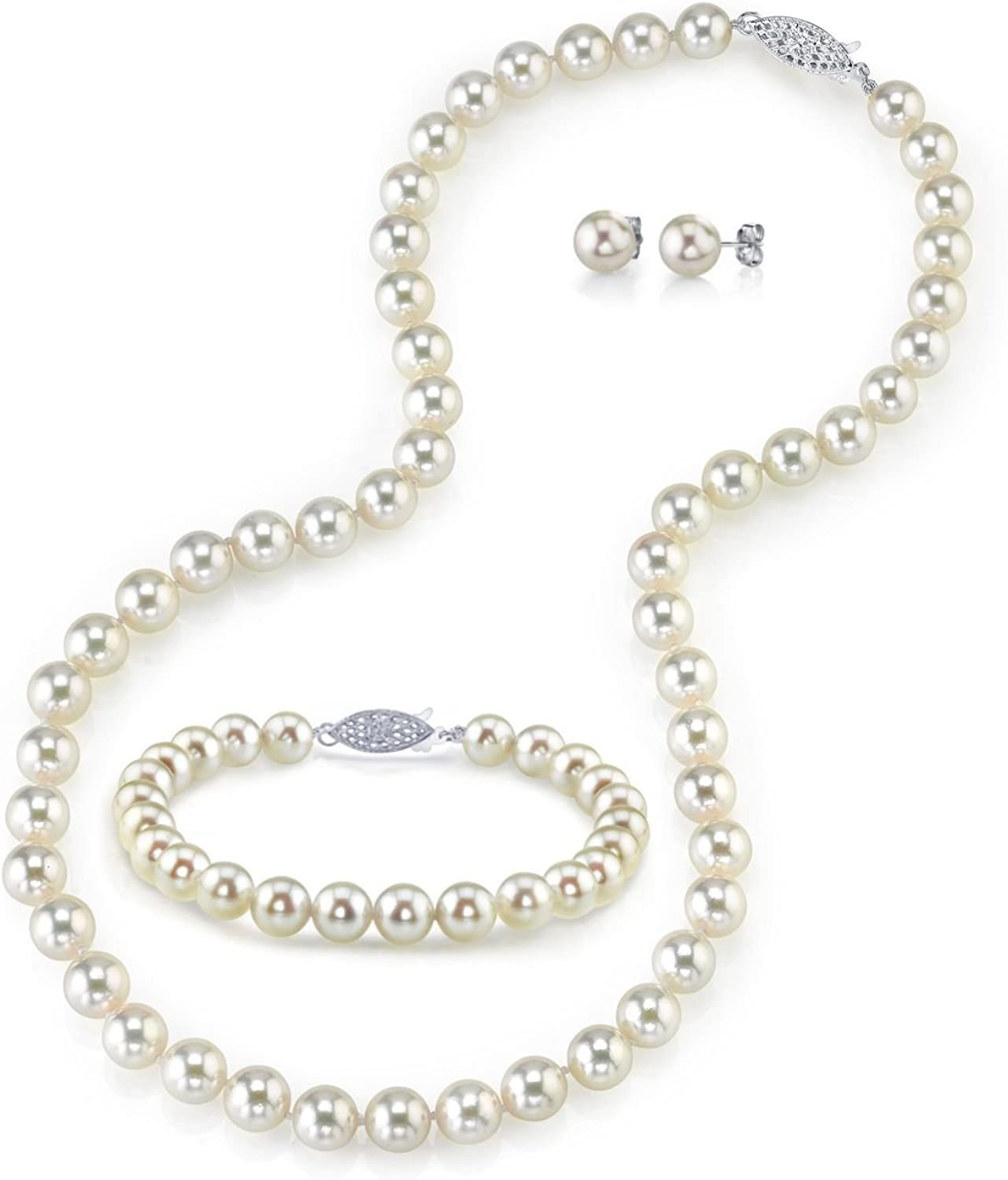 THE PEARL SOURCE 14K Gold 7.5-8mm Round White Akoya Cultured Pearl Necklace, Bracelet & Earrings Set for Women