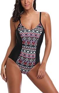 e8758214b5615 Ekouaer One Piece Swimsuits for Women Halter Bathing Suit Backless Monokini  Bather Swimwear S-XXL