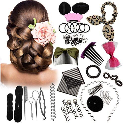 Luckyfine 20 pcs Accesorios de Peinado, Kit de Diseño de Cabello para Niñas y Mujeres, Accesorios que Facilitan Todos los Peinados, DIY de Pelo para Boda y Fiestas