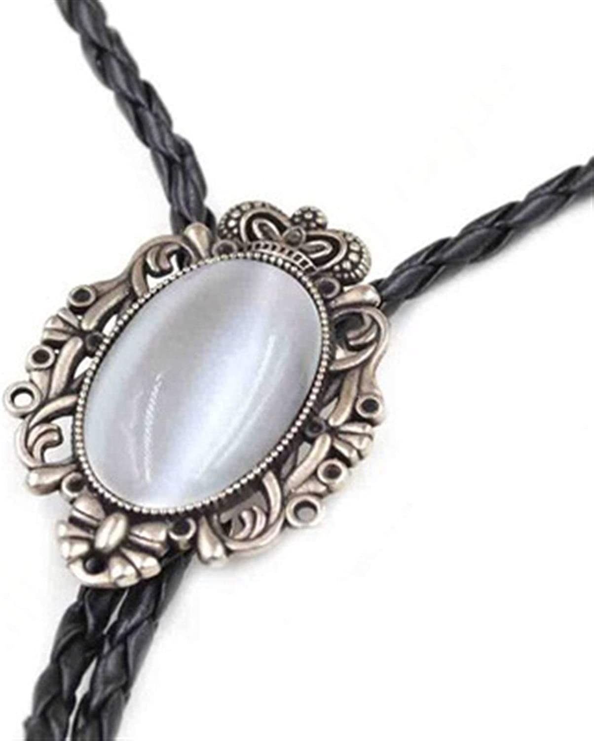 gujiu Western Cowboy Man Bolo tie, Emerald Blue and Black Stone bolo tie Pendant, Sweater Shirt Pendant, Leather Necklace, Clothing Accessories for Men and Women (Color : White)